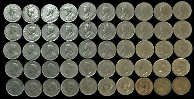 Lot of 50 Canada 5 cent nickels 1922-1950 Canadian