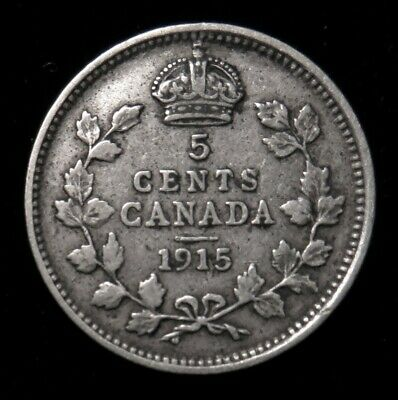 1915 Canada 5 cent better date silver Canadian