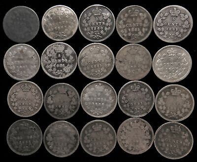 Lot of 20 Canada 5 cent silver Victoria 1880-1901 Canadian