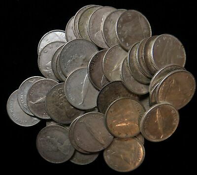 Lot of 42 Canada 10 cent dime $4.20 face 50% silver 1967-1968 Canadian