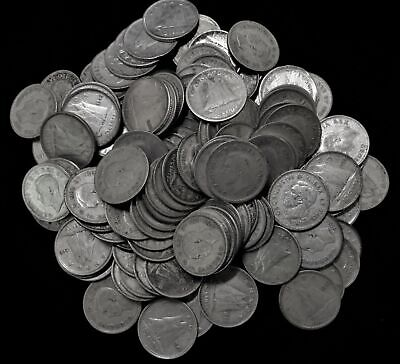 Lot of 125 Canada 10 cent dime $12.50 face 80% silver 1937-1952 Canadian