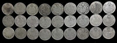 Lot of 27 Canada 10 cent dime $2.70 face 80% silver George V 1920-1936
