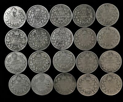 Lot of 20 Canada 10 cent dime $2.00 face 92.5% silver 1913-1919 Canadian