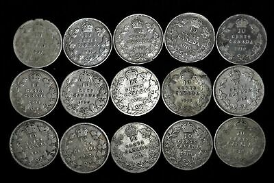 Lot of 15 Canada 10 cent dime 92.5% silver Edward VII 1902-1910 Canadian