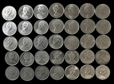 Lot of 35 Canada 25 cent $8.75 face 50% silver 1967 many AU/BU Canadian quarters