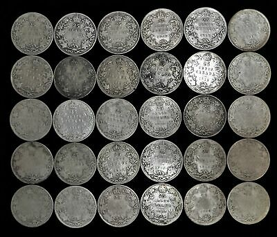 Lot of 30 Canada 25 cent $7.50 face 92.5% silver 1913-1919 Canadian quarter