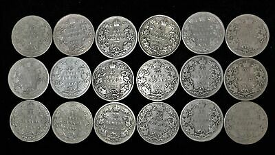 Lot of 18 Canada 25 cent $4.50 face 92.5% silver 1902-1910 Canadian quarter