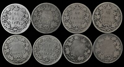 Lot of 8 Canada 25 cent silver Victorian 1874-1902 Canadian quarter