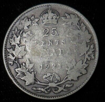 1921 Canada 25 cent silver better date Canadian quarter