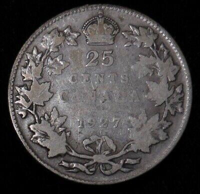 1927 Canada 25 cent silver better date Canadian quarter