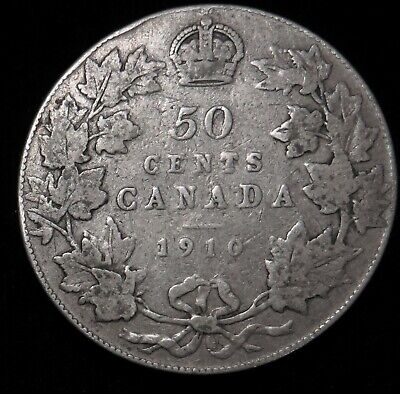 1910 Canada 50 cent silver Victorian leaves Canadian half dollar