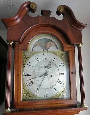 Antique Longcase Clock with Brass Moon Dial and Centre Calendar. c1780