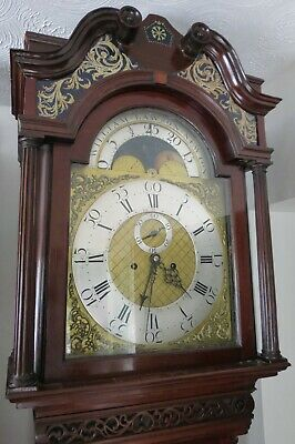 Antique Longcase Clock, Figured Mahogany, Moon, Centre Calendar. c1770