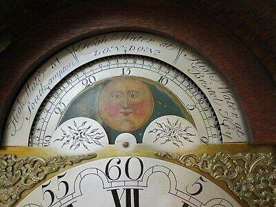 Very Rare Antique Longcase Clock, Tides in 3 Ports, Moon, George III. c1760