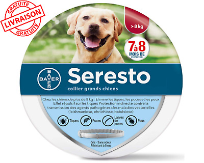 Collier antiparasitaire, anti-puces,anti-tiques grand Chien + 8kg Bayer Seresto