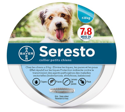 Collier antiparasitaire, anti-puces,anti-tiques petit Chien - 8kg Bayer Seresto