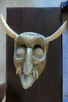 MASK WOOD CARVED LARGE WITH FANGS and HORNS TRIBAL WALL HANGING