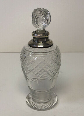 "Antique English 6"" Crystal Perfume Bottle w/ Sterling Silver 925 Neck"