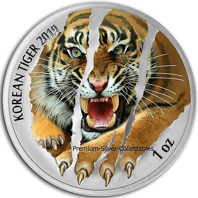 2019 South Korea Tiger  - 1 Ounce Pure Silver and Colorized!