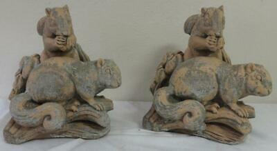 Pair of Antique Concrete Garden Ornament Squirrels Feasting on Their Food