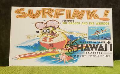 """1st Day Issue collector '09 """"SURFfink"""" Hawaii Statehood art by Ed""""BIG DADDY""""Roth"""
