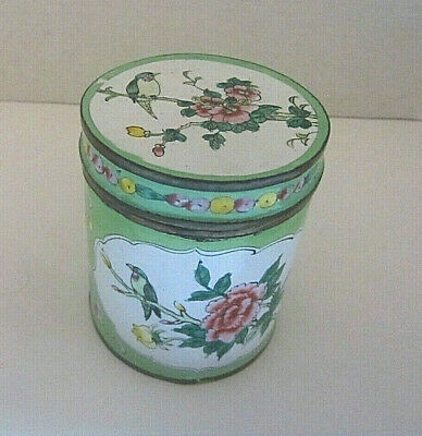 Vintage Chinese Export Hand Painted Enamel on Brass Tea Caddy Container Box