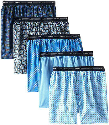 Hanes Men's 5-Pack Printed Woven Exposed Waistband Boxers (Assorted)
