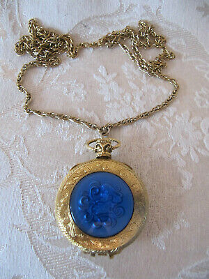 "Vintage Max Factor Blue Enamel ""Aquarius"" Perfume Compact Necklace"