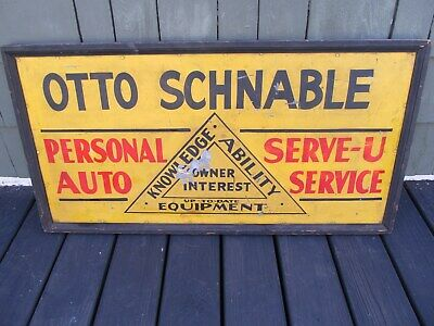 Antique  17.5'' x 35.5''  OTTO SCHNABLE AUTO SEVICE Advertising Framed Tin Sign