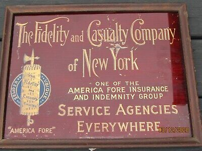 Antique Reverse Painted Glass Fidelity and Casualty Insurance Advertising Sign