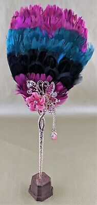 f37 Reproduction Antique Victorian Style Hand Tea Feather Fan wood Stand Disply