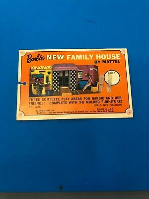 Original hang tag for the MOD Barbie Doll Family house 1969 VINTAGE