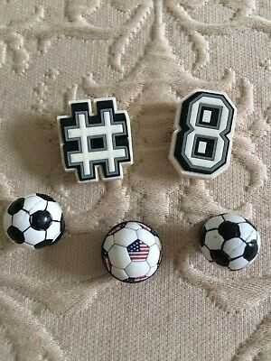 Crocs Jibbitz Charms for Croc Shoes. Set Of 5. Includes Two 3D Soccer Balls