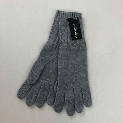 NWT Lord and Taylor Gray 100% Cashmere Cable Knit Gloves