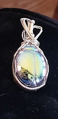 """2"""" Blue Glass Scarab Beetle Silvertone Necklace Pendant Ancient Egyptian Jewelry"""