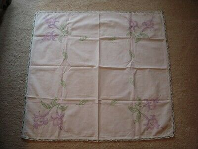 1950's Hand Made Embroidered Purple and Pink Fuchsia Flower Table Topper