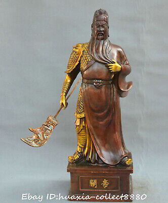"""19""""Chinese fengshui old Bronze Warrior god Guan Yu  military deity wealth Statue"""