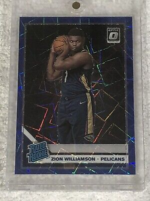2019-20 Donruss Optic Zion Williamson Blue Velocity Prizm Holo Rc #158 Pelicans