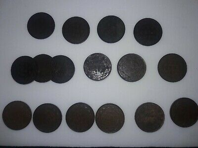 Lot Of 17 Canada Canadian Large Cents One Cents Circ. Pre-owned Assorted Dates!