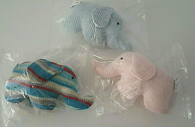 Baby Elephant 3 Knit Rattles Toy New Blue Pink Multicoloured