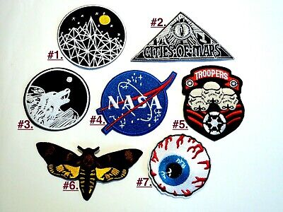 1x Mothman NASA Star Wars Patches Embroidered Cloth Badge Applique Iron Sew On