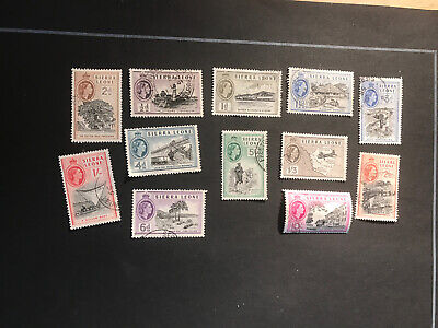 Stamps - Bc Qeii Sierra Leone (12) Used Mix Cond & Vals To 10/-