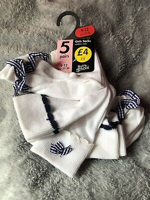 BNWT Girls 5 X School White Ankle Socks With Navy Gingham Size 9-12 Eur 27-30