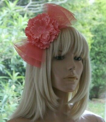 Ladies/Girls Light Coral Pink Bow & Flower with Pearls Fascinator on Headband