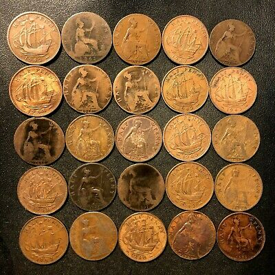 Vintage Great Britain Coin Lot - 25 HALF PENNIES - 1862-1967 - Lot #M23