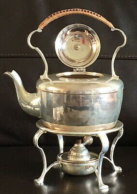 Antique Chinese Style Silver Plate Kettle Teapot, Stand And Warmer Bamboo Handle
