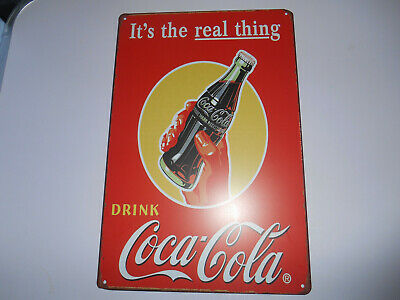 Retro Coca Cola Advert Pin Up Tin Metal Sign It's The Real Thing, Wall Decor for