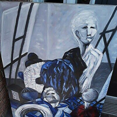 LARGE PAINTING ON CANVAS  Human Figures  By MAGDA B. Abstract Painting