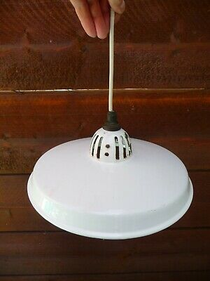 Vintage Original French Large Enameled Light Fitting Shade Architectural 1930s