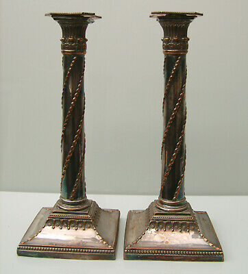Pair C19th silver on copper candlesticks of neo-classical design